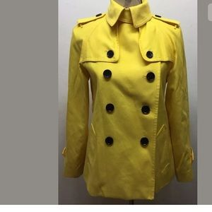 Coach  Short Double Breasted Trench Coat Yellow XS